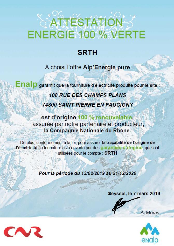 Attestation énergie verte SRTH, Solutions et Réalisations Techniques Hydrauliques